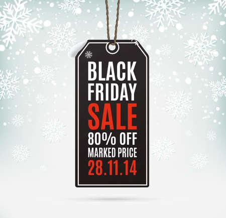 Black Friday verkoop realistische papieren prijskaartje op de achtergrond met sneeuw en sneeuwvlokken. Label. Vector illustratie