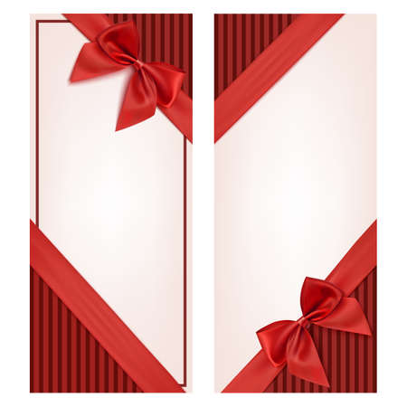 beautiful anniversary: Gift card with red ribbon and a bow. Gift voucher template. Vector illustration