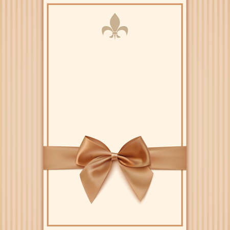 Vintage greeting card template with golden bow and ribbon. Invitation. Vector illustration Çizim