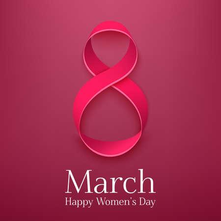 08 de marzo de tarjetas de felicitación. Modelo del fondo para el Día Internacional de Womans. Ilustración vectorial Ilustración de vector