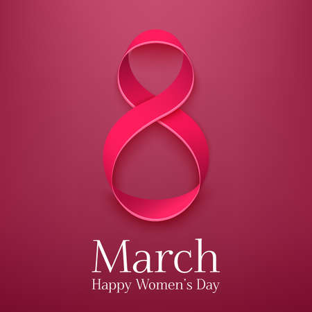 March 8 greeting card. Background template for International Womans Day. Vector illustration Ilustração