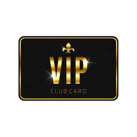vip badge: VIP card template, isolated on white background. Vector illustration