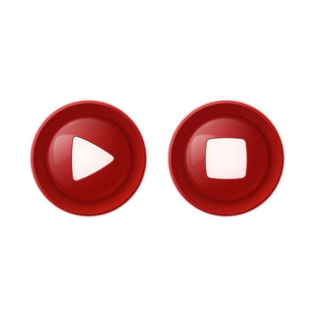 Two red glossy buttons, play and stop. Vector illustration Vector