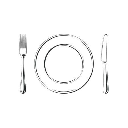Nóż, widelec i talerz, na białym tle. Proste Ikona. Ilustracji wektorowych Ilustracje wektorowe