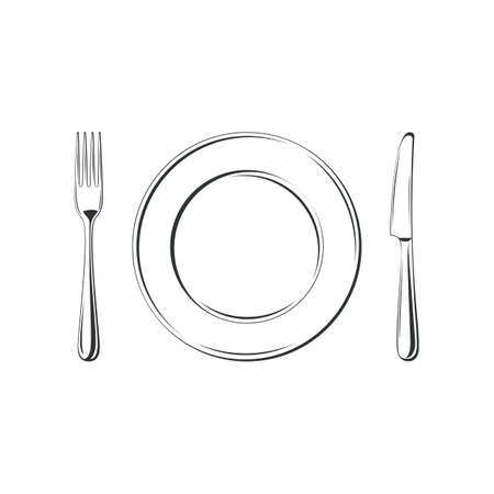 Knife, fork and plate, isolated on white background. Simple Icon. Vector illustration