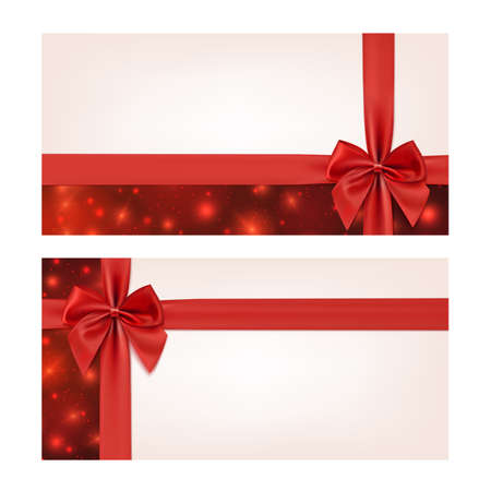 Gift voucher template with red ribbon and a bow. Vector illustration Ilustração