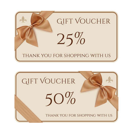 gift background: Gift voucher template with golden ribbon and a bow. Vector illustration