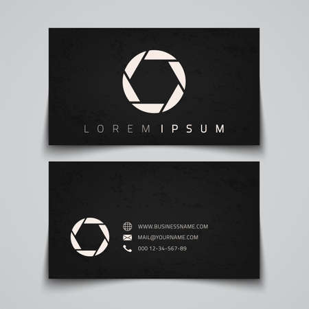Business card template. Camera shutter concept logo. Vector illustration