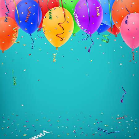 Viering achtergrond sjabloon met Konfetti, kleurrijke linten en ballonnen. Vector illustratie Stock Illustratie