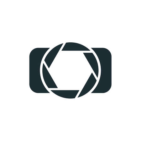 simple logo: Camera, simple concept logo isolated on white background. Vector illustration