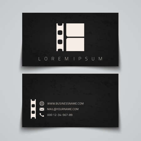 video reel: Business card template. Film strip conceptual logo. Vector illustration