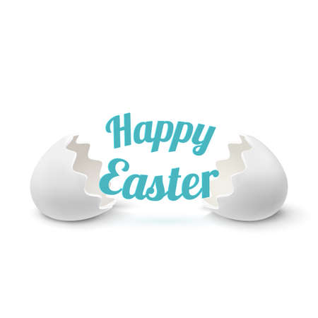 broken eggs: Realistic egg shell icon, isolated on white background. Happy Easter greeting card template. Vector illustration