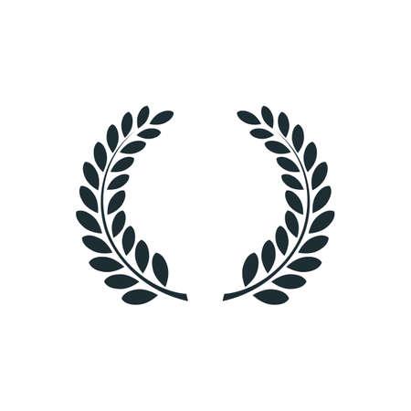 月桂冠、シンプルなコンセプトのロゴ。ベクトル図