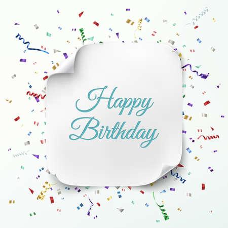 kutlama: Renkli konfeti ve kurdele ile kutlama arka plan üzerinde gerçekçi kavisli afiş. Doğum günün kutlu olsun tebrik kartı şablonu. Vektör çizim Çizim