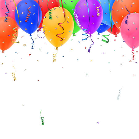 Celebration background with colorful confetti, ribbons and balloons. Vector Illustration Stock Illustratie
