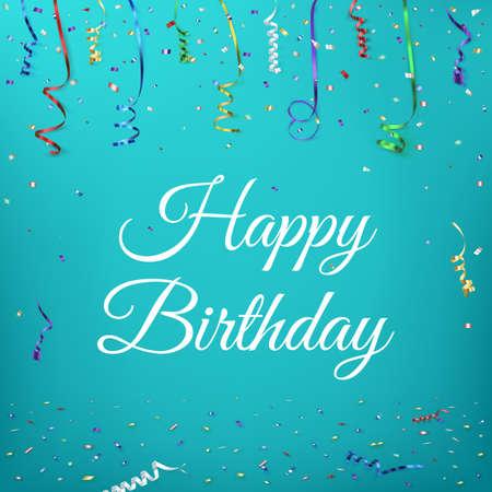 празднование: Счастливый день рождения фон шаблона с конфетти и красочные ribbons.Greeting карты. Векторная иллюстрация
