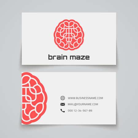Business card template. Brain maze concept logo. Vector illustration