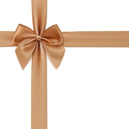 lazo regalo: Realista arco y la cinta de oro aisladas sobre fondo blanco. Ilustración vectorial