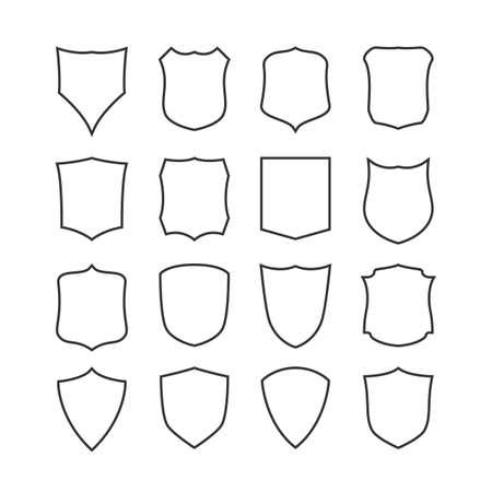 honour guard: Big set of blank, classic shields, templates. Design elements. Vector illustration