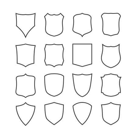 Big set of blank, classic shields, templates. Design elements. Vector illustration