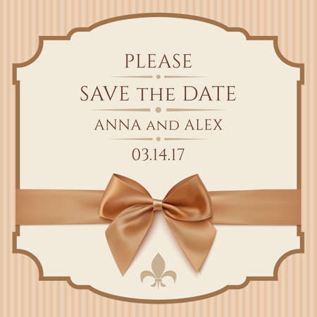 Save The Date, Wedding Invitation Card. Vintage greeting card template with golden bow and ribbon. Vector illustration