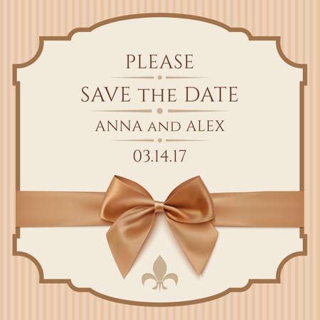 Sparen Sie das Datum, die Einladungs-Karte. Vintage-Grußkarte Vorlage mit goldenen Schleife und Band. Vektor-Illustration Standard-Bild - 38097845