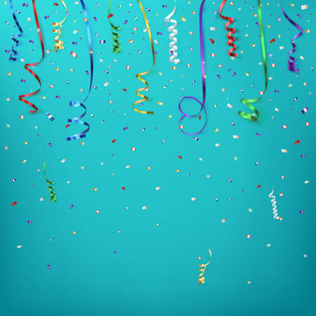 anniversary backgrounds: Celebration background template with confetti and colorful ribbons. Vector illustration