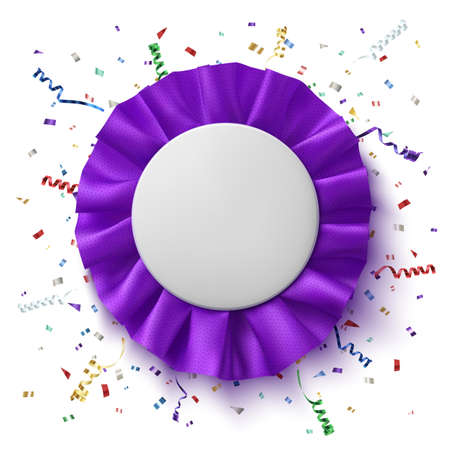 fabrick: Blank, realistic, purple fabrick award ribbon with colorful confetti and ribbons, isolated on white background. Badge. Vector illustration