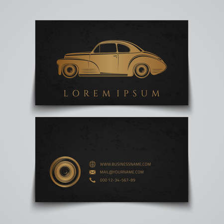 hot rod: Business card template. Classic car logo. Vector illustration Illustration