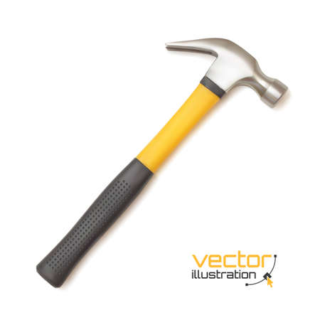 martillo: Icono del martillo realista, aislado sobre fondo blanco. Ilustraci�n vectorial
