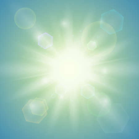 Realistic summer sun. Abstract background. Vector illustration