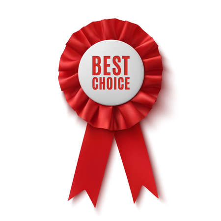 Best choice, realistic red fabric award ribbon, isolated on white background. Badge. Vector illustration Vector