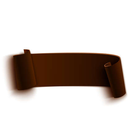 paper banner: Brown realistic curved paper banner. Ribbon. Vector illustration Illustration