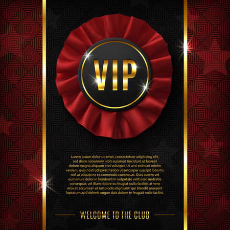 red and gold: VIP background with realistic, fabric award ribbon. Vector illustration. Illustration