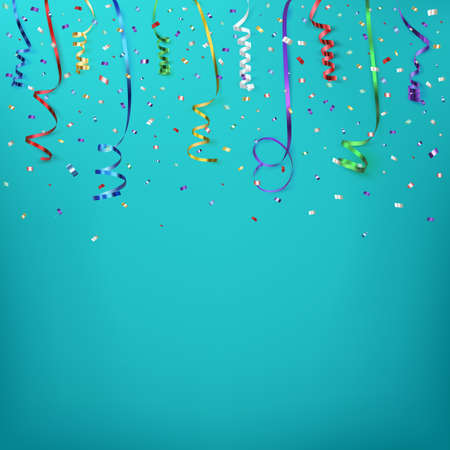 event party festive: Celebration background template with confetti and colorful ribbons. Vector illustration