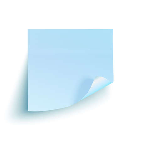 paper pin: Blue sticky note isolated on white background. Vector illustration