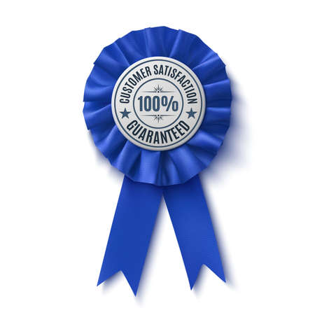 blue ribbon: Customer satisfaction guaranteed. Realistic,blue label, isolated on white background. Badge. Fabric Award Ribbon. Vector illustration Illustration
