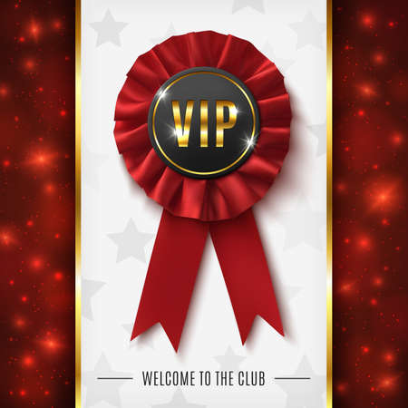 VIP background with realistic red fabric award ribbon.  Vector