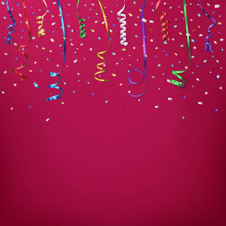event party: Celebration background template with confetti and colorful ribbons.