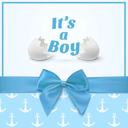Its a boy. Template for baby shower celebration, or baby announcement card. Greeting card with two egg shells, blue ribbon and a bow.