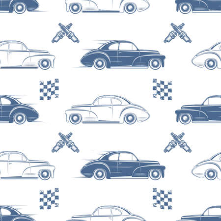 car show: Vintage seamless pattern with cars, flags and spark plugs. Vector illustration.