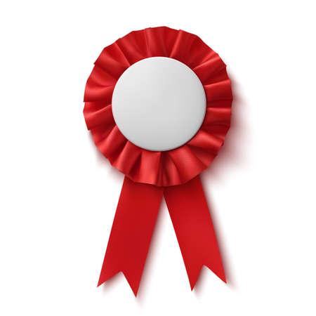 ribbon award: Blank, realistic red fabric award ribbon, isolated on white background. Badge. Vector illustration