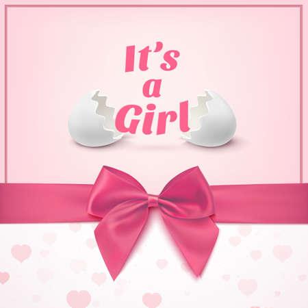 moño rosa: Es una niña. Plantilla para baby shower celebración, o tarjeta de aviso del bebé. Tarjeta de felicitación con dos cáscaras de huevo, cinta rosada y un arco. Ilustración vectorial