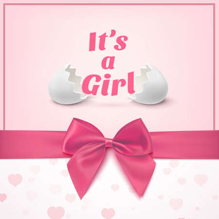 pink ribbons: Its a girl. Template for baby shower celebration, or baby announcement card. Greeting card with two egg shells, pink ribbon and a bow. Vector illustration