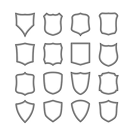 Big set of blank, classic shields, templates. Design elements. Vector illustration