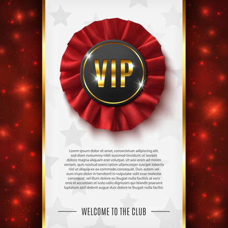 VIP background with realistic red fabric award ribbon. Vector illustration.
