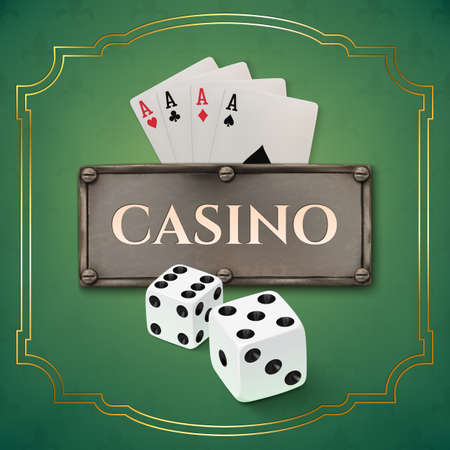 iron fun: Vintage casino background with realistic metal banner, dice and playing cards. Vector illustration