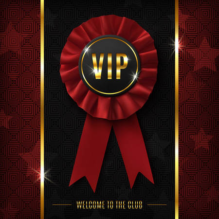 message card: VIP background with realistic red fabric award ribbon. Vector illustration.