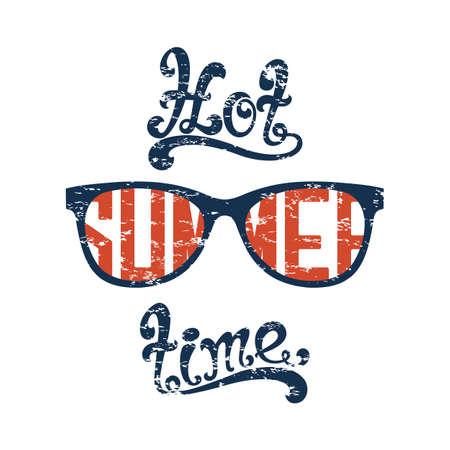 sunglasses isolated: Hot summer time. Calligraphic handwritten vintage, grunge, retro background with sunglasses, isolated on white background. Typographic design. Hand lettering. Vector illustration.