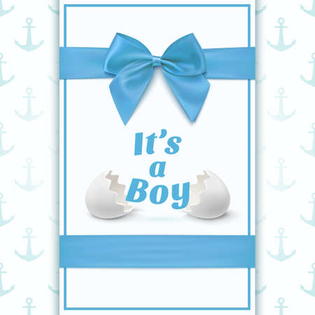 Its a boy. Template for baby shower celebration, or baby announcement card. Greeting card with two egg shells, blue ribbon and a bow. Vector illustration